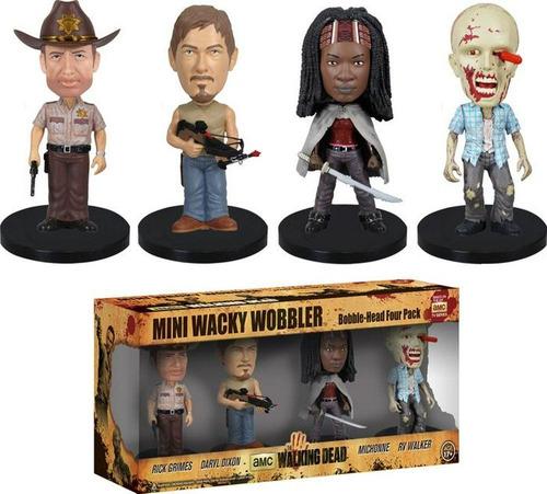funko the walking dead mini wacky wobbler set x 4