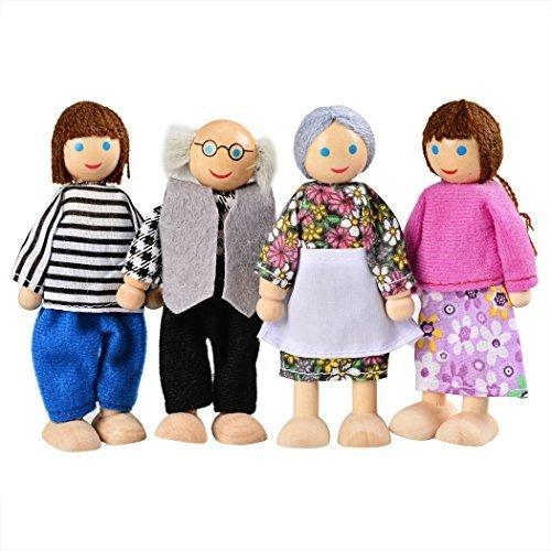 Poseable Muñecas Familia de 4 muñecas de madera todos vestidos con ropas 3 años de tela