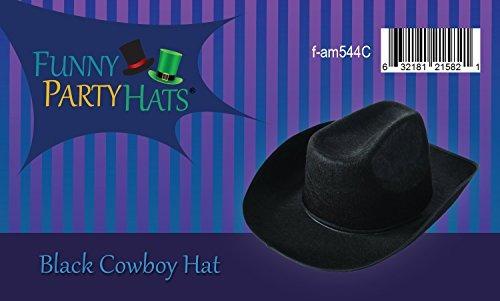 Funny Party Hats Sombrero De Vaquero Negro Sombreros De Vaqu ... 5cf5b8d646a