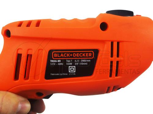 furadeira de impacto 3/8 110v tb550 black&decker + brindes