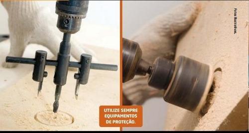 furador ajustável circular para madeira e gesso 30 a 120mm