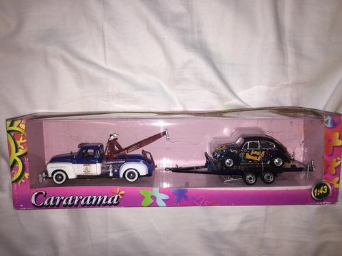 fusca com caminhão guincho e trailer cararama 1:43