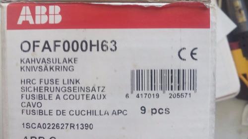 fusible de lengüeta centrado abb hrc de 63amp en caja 9 piez