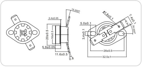 fusible termico -250v-10amp-105ºc - ksd301 - nuevo