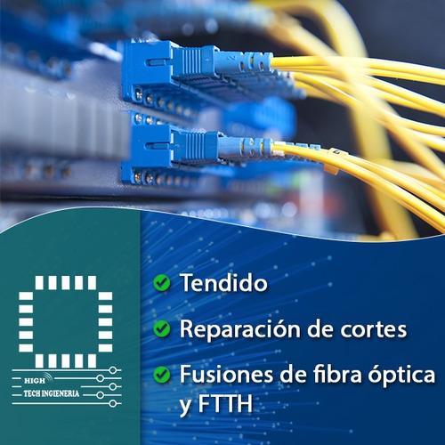 fusiones de fibra optica, reparacion de cortes y tendido.