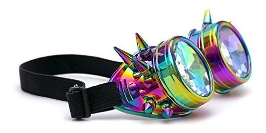 FUT ABS Arco Iris Con Picos Steampunk Gafas Lentes Cyber Soldadura Caleidoscopio Rave