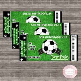 Futbol 40 Tarjetas Invitaciones Vip Impresas