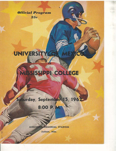 futbol americano programa 1962 pumas vs missisippi college