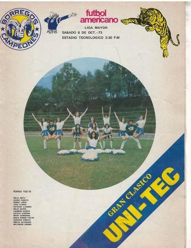 futbol americano programa 1973 borregos vs tigres