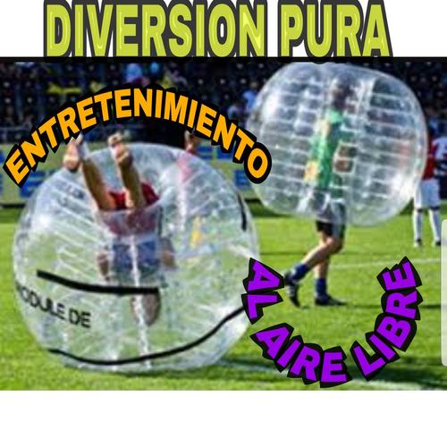 fútbol burbuja, bolas choconas, entretenimiento y diversión
