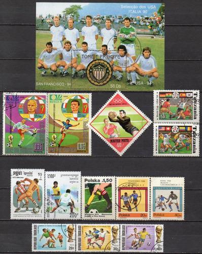 futebol - lote 13 selos diversos + bloco