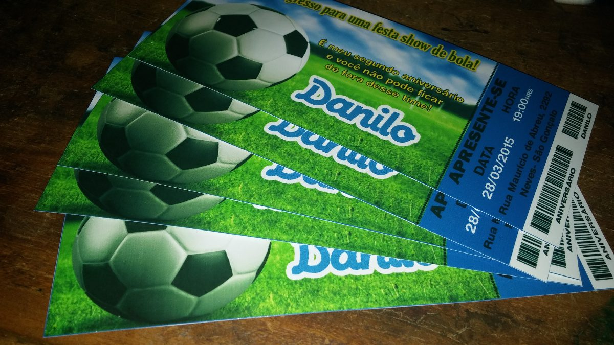 9a27a21410 Futebol Times - Convite Ingresso Aniversário 50 Unidades - R  26