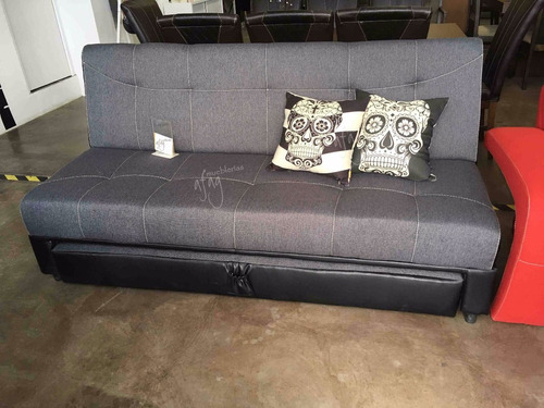 futón 2 cama individual y matrimonial sofá cama negro gris