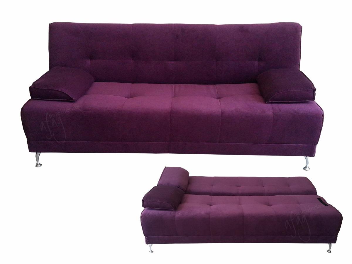 f9e90381d4b30 futon morado sofá cama matrimo tela gruesa pata alta cromada. Cargando zoom.