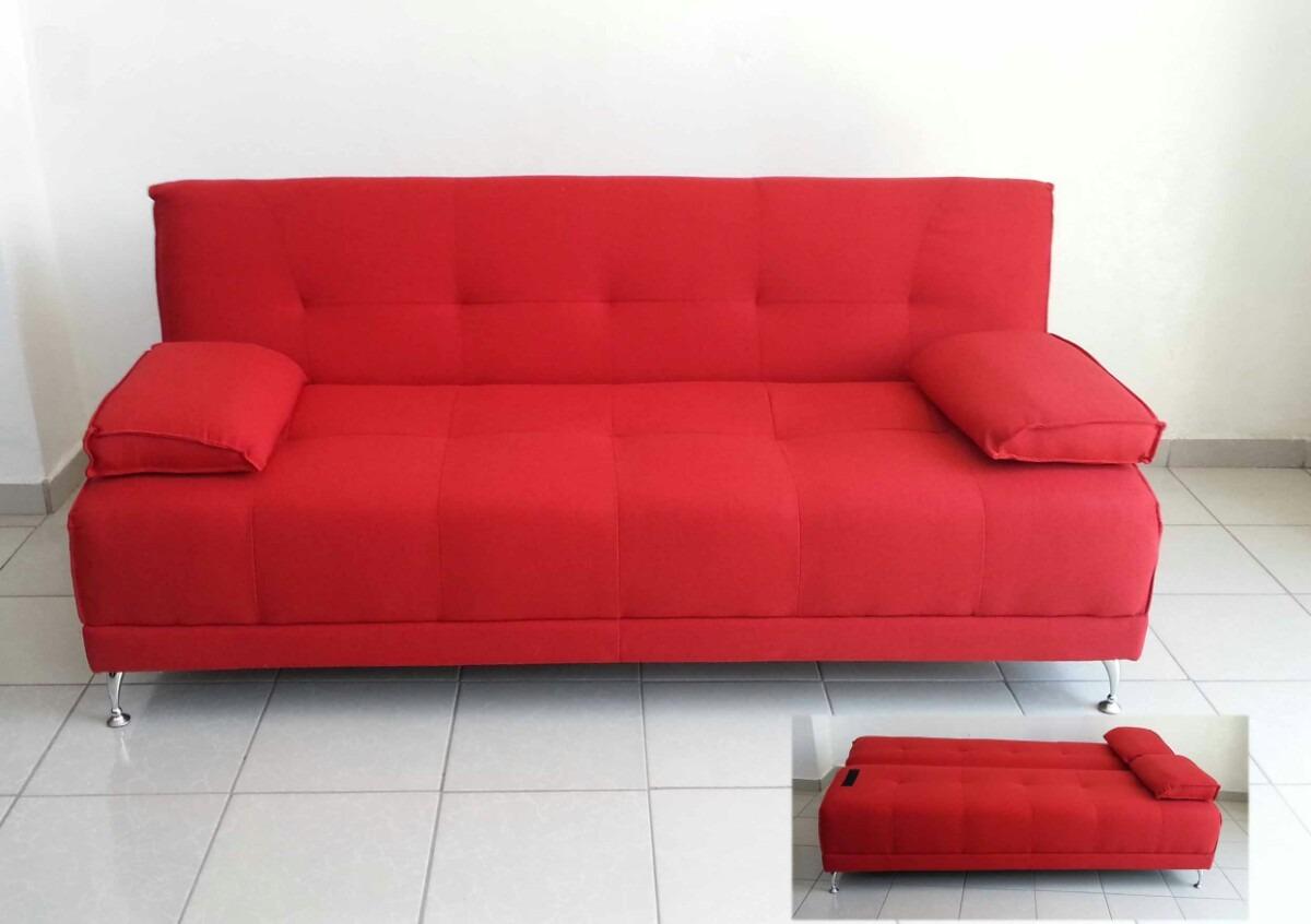 Futon rojo sof cama matrimonial tela gruesa pata alta for Sofa cama dos camas