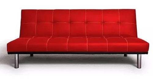 futon sofa ecocuero o lino 3 cuerpos cama plaza y media
