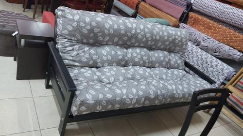 futon tres posiciones pino tapizado lino estampado