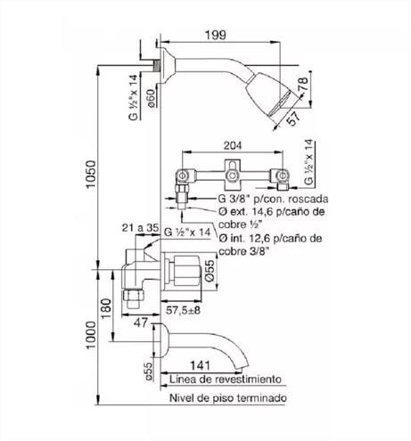 fv 103/24p griferia para bañera y transferencia kansas plus
