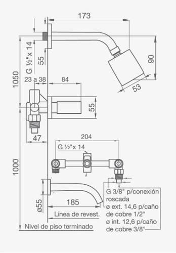 fv 103/28 griferia para bañera y transferencia melody