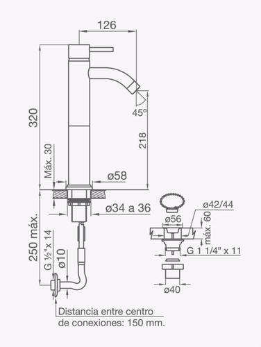 fv 181.02/87 griferia temple lavatorio monocomando cromo