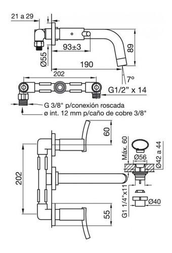 fv 203/39 libby juego monocomando lavatorio de pared cromo