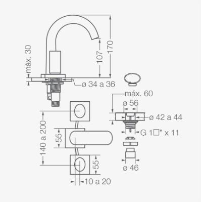 fv 207/28 lavatorio melody con tapita cromo
