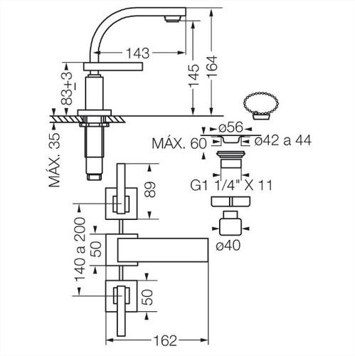 fv 207r/85l lavatorio a sopapa dominic lever cromo