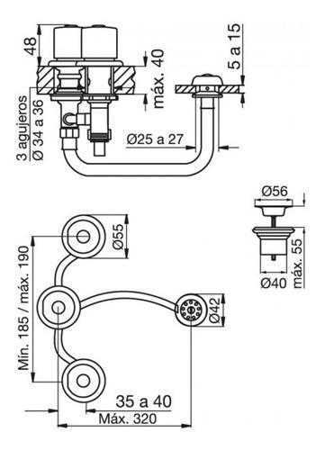 fv 295/24p griferia para bidet kansas plus sin tapita cromo