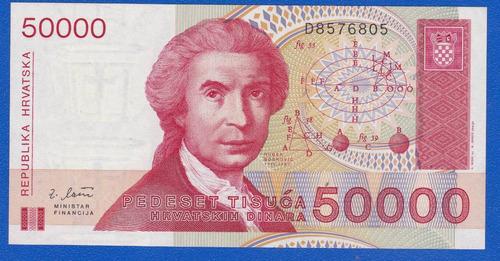 fv * billete - croacia 1993 - 50.000 dinara unc