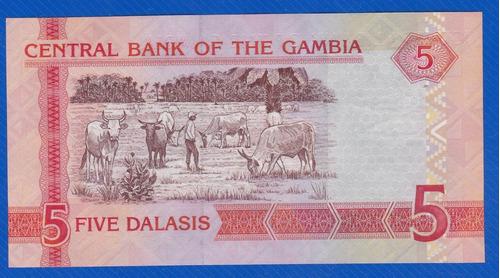 fv * billete - gambia - 5 dalasis unc
