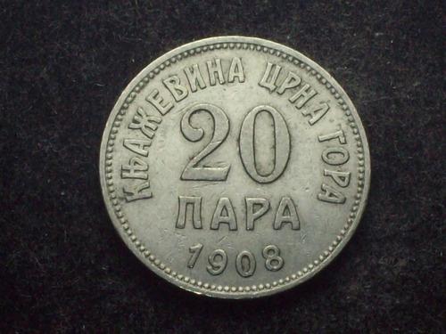 fv * montenegro 1908 - 20 para - país exótico