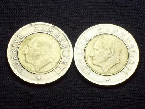 fv * turquia 2010 / 2011 - lote 2 monedas de 50 kurus