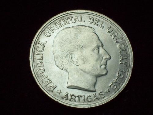 fv * uruguay 1942 - 1 peso puma de plata au/unc