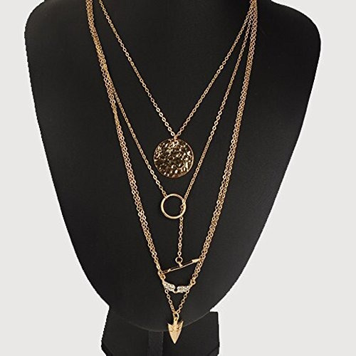 fxmimior collar de múltiples capas de oro círculo flecha c