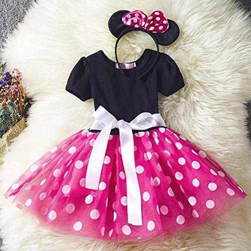 FYMNSI Baby Girls Polka Dots Tulle Spliced Ballet Dress Bowknot Headband Birthday Party Princess Tutu Dress 1-6T