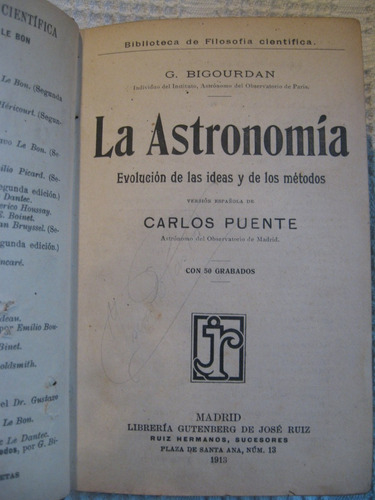 g. bigourdan - la astronomía. evolución de las ideas