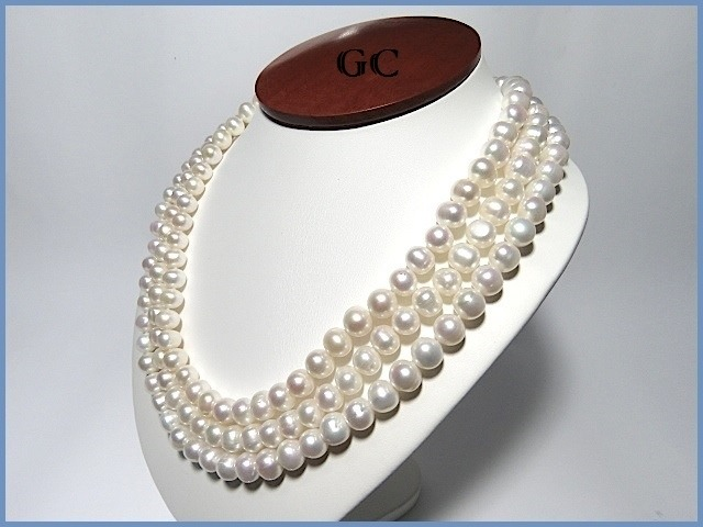 disfruta del precio inferior estilo de moda mejor elección G C- Collar De Perlas Naturales Con Broche De Oro 10k Triple