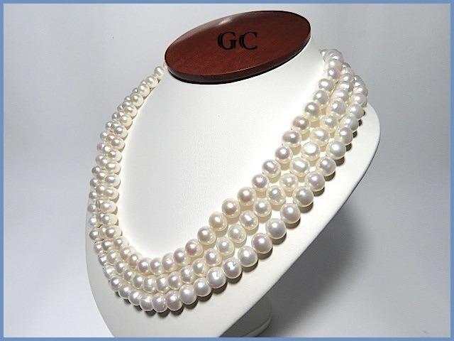 7cf0bc61a113 G C- Collar De Perlas Naturales Con Broche De Oro 18k Triple ...