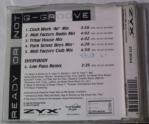 g - groove ready or not cd single aleman  zyx  6 tracks 1996