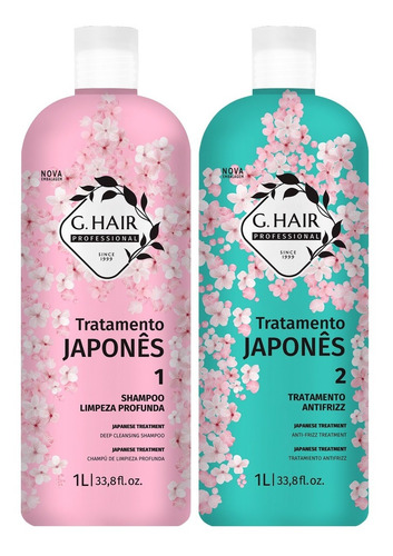 g hair tratamento japonês shampoo + trat. antifrizz 2x1l