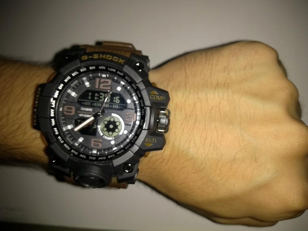 2f9aa7f9327 g-shock preto com pulseira marrom. Carregando zoom.