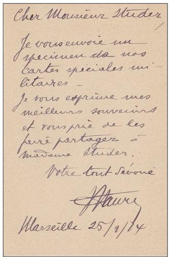 g w carta postal militar francia 1914