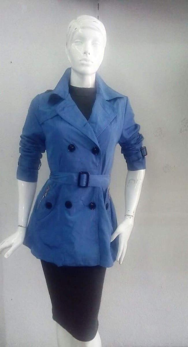 f82a50ececdd Gabardina De Dama En Color Azul Modelo Boton -   899.00 en Mercado Libre