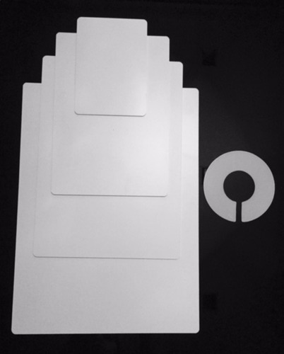 gabarito molde para dobrar (kit com 4) + 10 divisores cabide