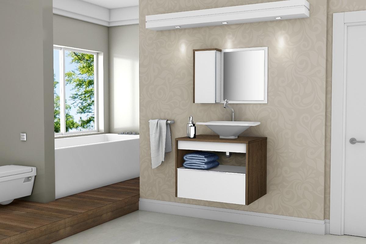 Gabinete Armário Banheiro C Pia E Gaveta Genova Avelãbranc  R$ 479,90 em M -> Armario De Banheiro Mercado