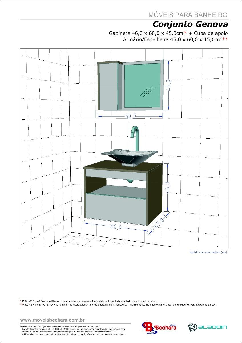 Gabinete arm rio banheiro c pia e gaveta genova avel for Altura de armario