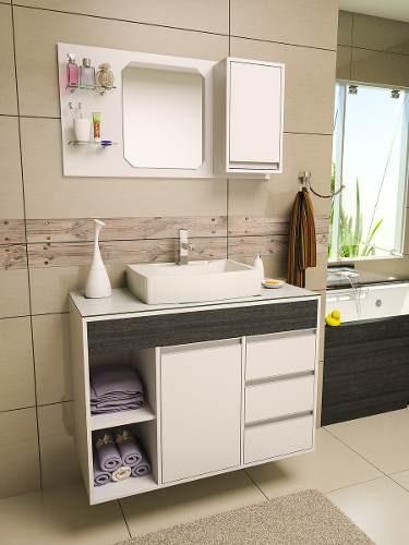 Gabinete  Armário Banheiro Fit Supreme 1 Metro Comprimento  R$ 849,90 em Me -> Altura Do Armario De Banheiro