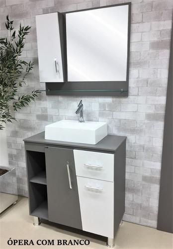 gabinete / armário banheiro kit pisa 80cm cuba apoio prada