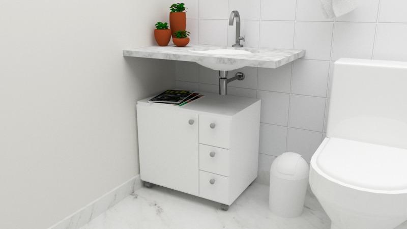 Gabinete Armario Banheiro Mdp 15 Branco Frete Gratis P Sp