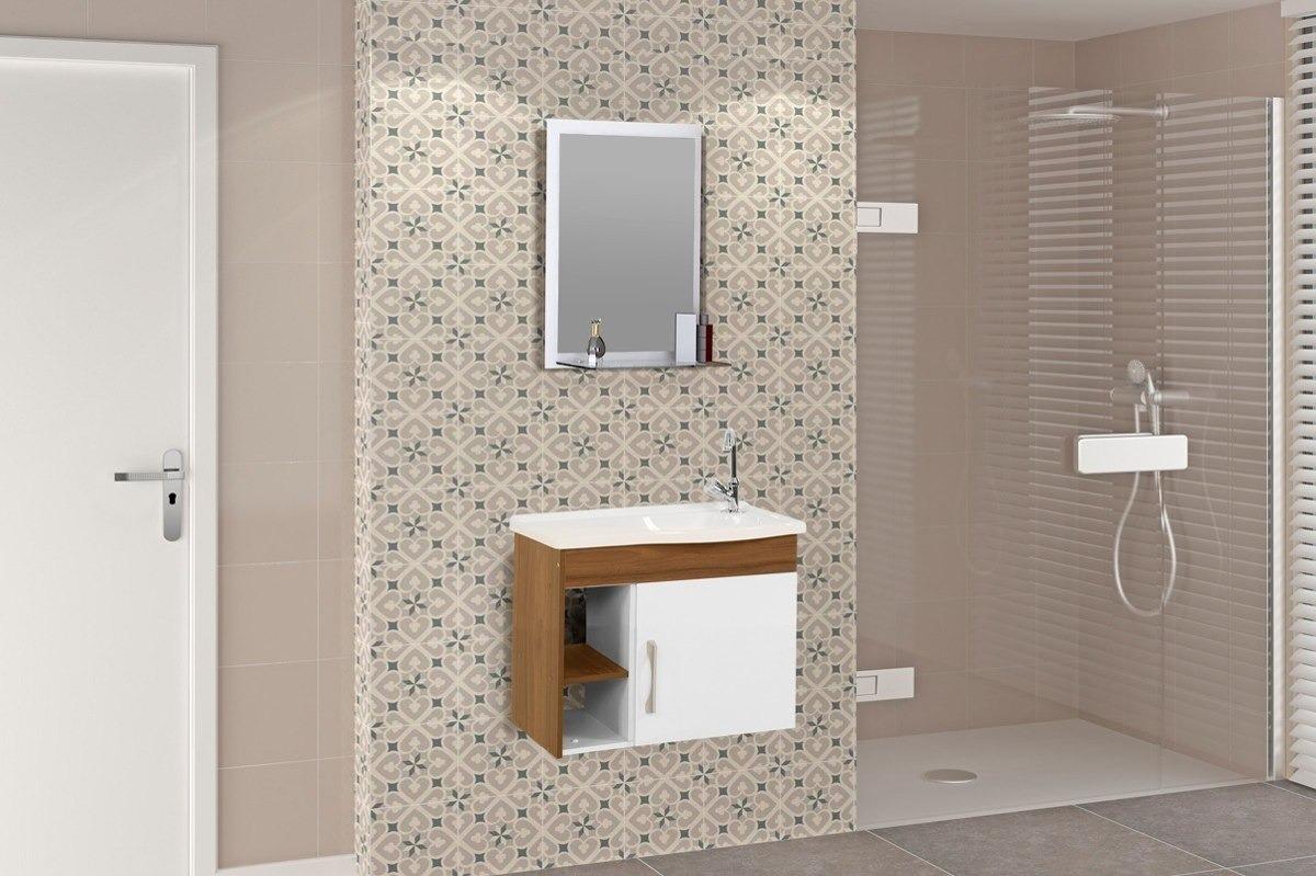 Gabinete Armário Banheiro Susp Turim Pia Espelho 2 Nichos